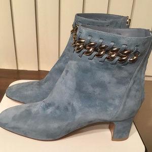Valentino Denim Suede Chain Embellished Boot Sz40